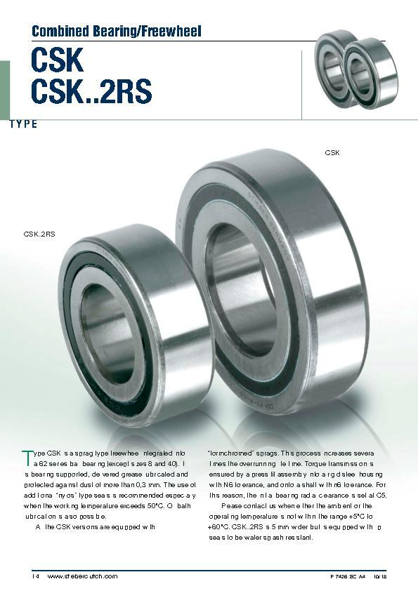 CSK & CSK2RS Sprag Type Freewheel | Combined Bearing