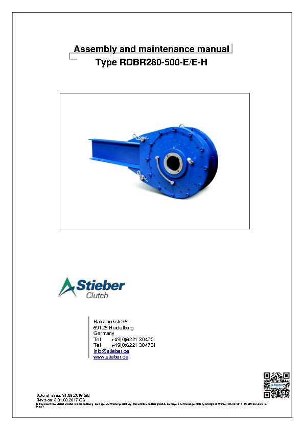 (A4) Type RDBR 280-500-E/E-H Assembly and Maintenance Manual